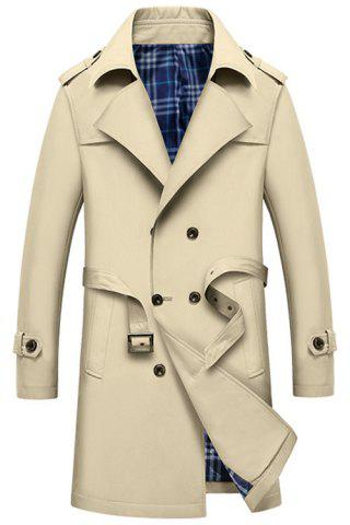 Shops Double Breasted Epaulet Long Trench Coat - XL KHAKI Mobile