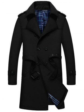 Double Breasted Epaulet Long Trench Coat - Black - Xl