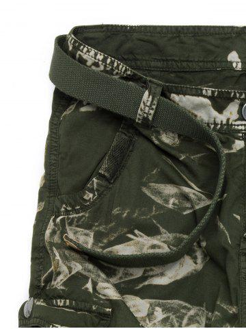 Hot Zipper Fly Drawstring Design Multi Pockets Cargo Shorts - 40 ARMY GREEN CAMOUFLAGE Mobile
