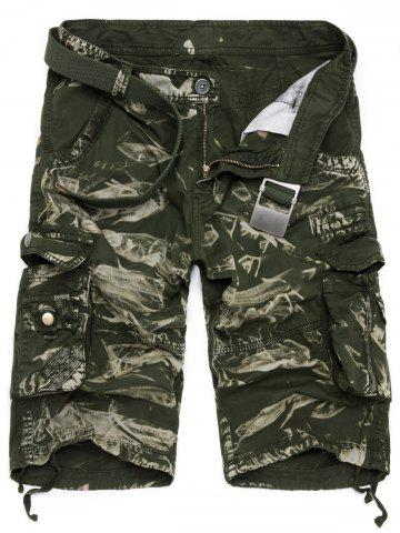 Buy Zipper Fly Drawstring Design Multi Pockets Cargo Shorts - 40 ARMY GREEN CAMOUFLAGE Mobile
