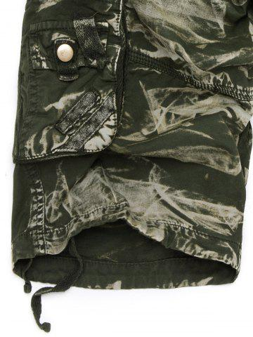 Fashion Zipper Fly Drawstring Design Multi Pockets Cargo Shorts - 40 ARMY GREEN CAMOUFLAGE Mobile