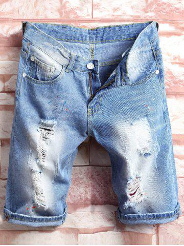 bleu peinture shorts splatter distressed denim. Black Bedroom Furniture Sets. Home Design Ideas
