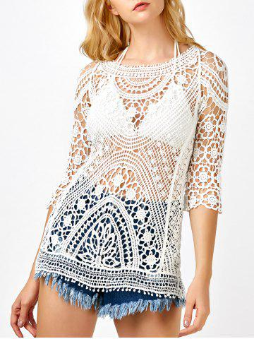 See Through Lace Crochet Tunic Cover Up - White - One Size