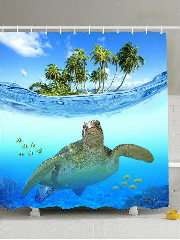 Beach Turtle Printing Anti-Bacterial Shower Curtain - Lake Blue - 180*180cm