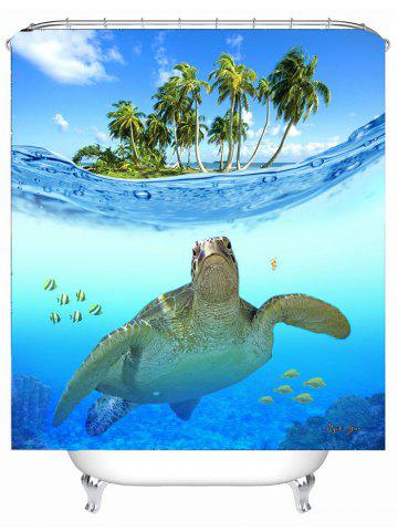 Store Beach Turtle Printing Anti-Bacterial Shower Curtain - 180*180CM LAKE BLUE Mobile