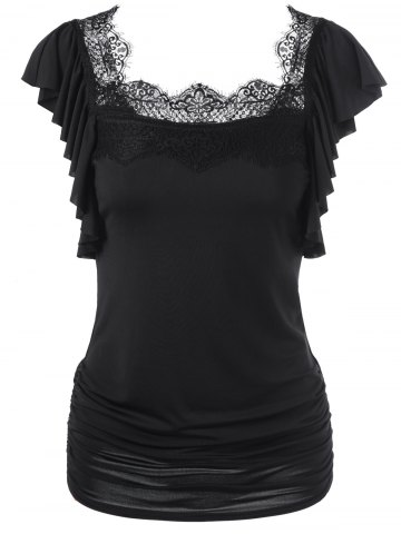 Unique Butterfly Sleeve Lace Trim Ruched T-Shirt BLACK M