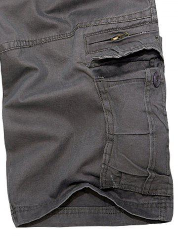 Affordable Staright Leg Multi Pockets Cotton Cargo Shorts - 29 DEEP GRAY Mobile