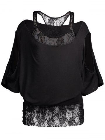 Lace Tee Insert Cold Shoulder Batwing Top - Black