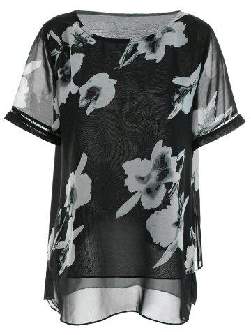 Floral Chiffon Plus Size Top - Black - 5xl
