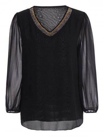 Plus Size Beading V Neck Chiffon Blouse - Black - 5xl