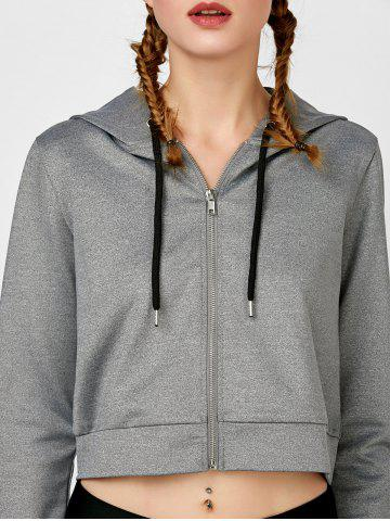 Chic Sample Sports Letter Zip Up Crop Hoodie - L LIGHT GRAY Mobile