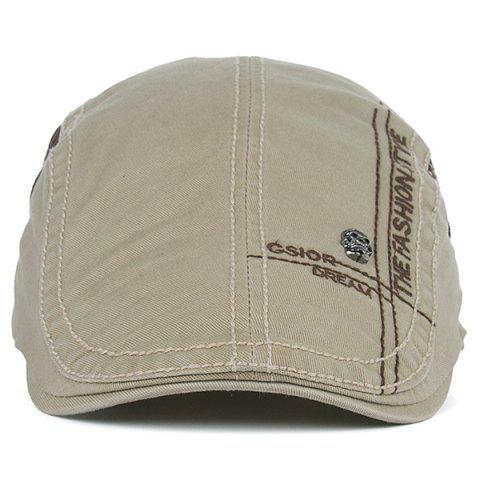 Sale Skull and Embroidery Embellished Jeff Cap - LIGHT KHAKI  Mobile