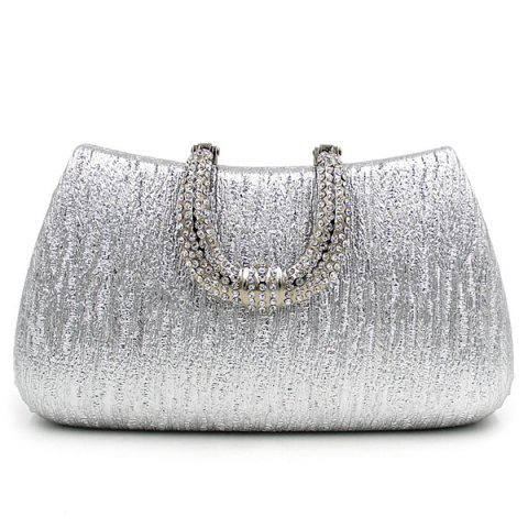 Latest PU Leather Rhinestone Clutch Evening Bag - SILVER  Mobile