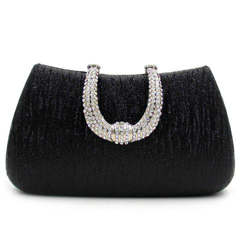 Unique PU Leather Rhinestone Clutch Evening Bag - BLACK  Mobile