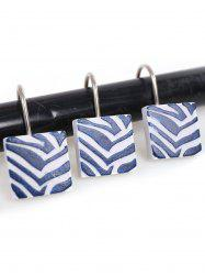 12Pcs/Set Resin Shower Curtain Hooks Rings - BLUE AND WHITE
