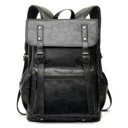 Buckle Straps Detail Faux Leather Backpack - BLACK