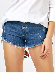 Asymmetrical Fringed Cut Off Denim Shorts