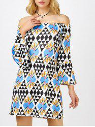 Argyle Off The Shoulder Long Sleeve Mini Dress