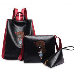 Cartoon Embriodered Faux Leather Backpack Set