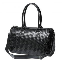 Woven Faux Leather Weekend Bag - BLACK