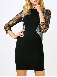 Lace Panel Long Sleeve Bodycon Dress