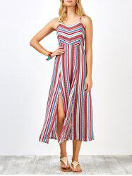 Boho Criss Cross Backless Slip Maxi Dress