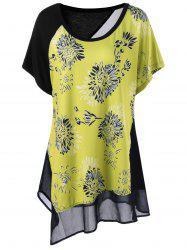 Plus Size Batwing Sleeve Floral Asymmetrical T-Shirt