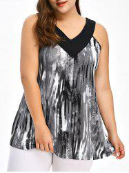 Plus Size Tie Dye Ringer Tank Top - BLACK