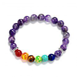 Multicolor Faux Amethyst Beaded Bracelet
