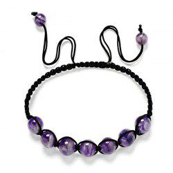 Artificial Amethyst Beaded Braid Bracelet