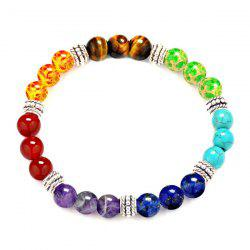 Natural Irised Stone Boho Bead Bracelet - SILVER