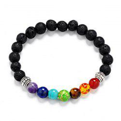 Lava Stone Multicolor Beaded Bracelet - SILVER