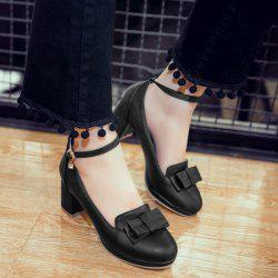 Bowknot Ankle Strap Pumps - BLACK