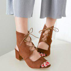 Suede Block Heel Sandals - BROWN