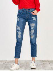 High Rise Broken Hole Jeans - BLUE