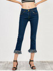 High Rise Fringed Cropped Jeans - DEEP BLUE
