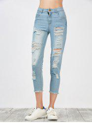 Broken Hole Fringed Jeans