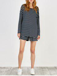 Striped Tee and Shorts Twinset - PURPLISH BLUE