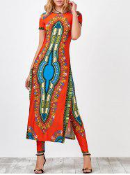High Slit Africa Print Robe Dress with Pants -