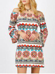 Off The Shoulder Printed Bell Sleeve Shift Aztec Print Dress - COLORMIX