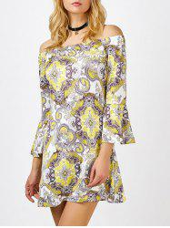 Off The Shoulder Floral Long Sleeve Shift Dress