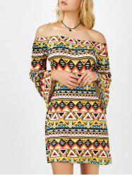 Geometrical Print Off The Shoulder Mini Aztec Print Dress