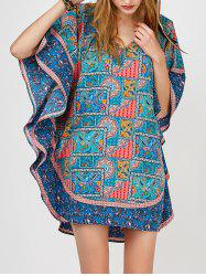 Batwing Sleeve V-Neck Printed Dress