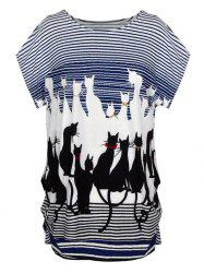 Cute Graphic Allover Print Oversized Tee