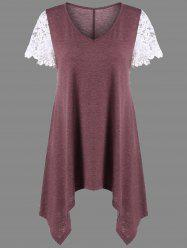 Floral Lace Trim Asymmetrical Tunic Top