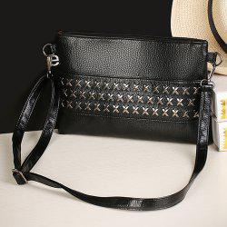 Criss Cross Faux Leather Clutch Bag - BLACK