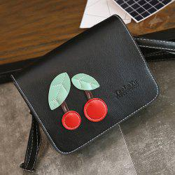 Flap Cross Body Cherry Patch Bag - BLACK