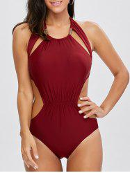Openback Metal Design One Piece Swimwear