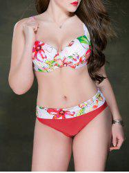 Push Up Plus Size Bowknot Floral Underwire Bikini