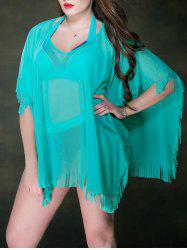 Plus Size Mesh Sheer Fringe Tunic Beach Cover Up
